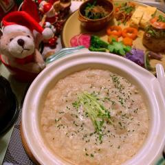 大根と蕎麦の実のチーズフォンデュ豆乳粥