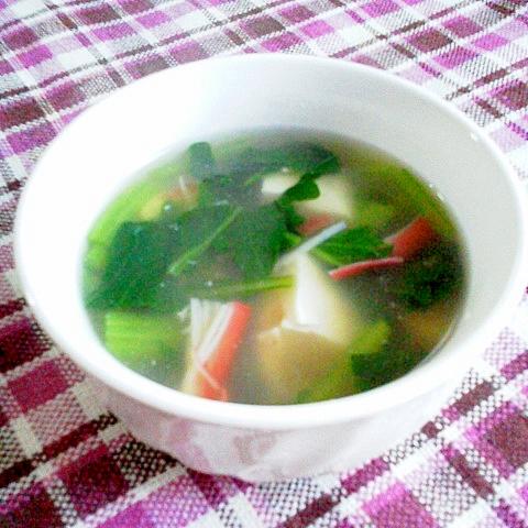 あったまる~♪小松菜・豆腐・カニカマの中華スープ