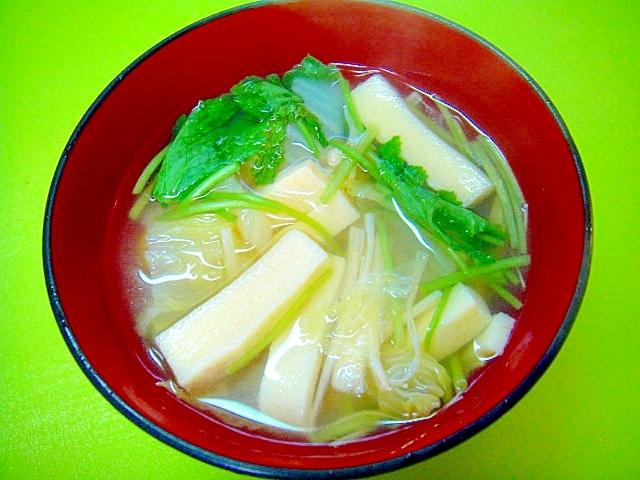 高野豆腐入り白菜と三つ葉えのきの和風スープ