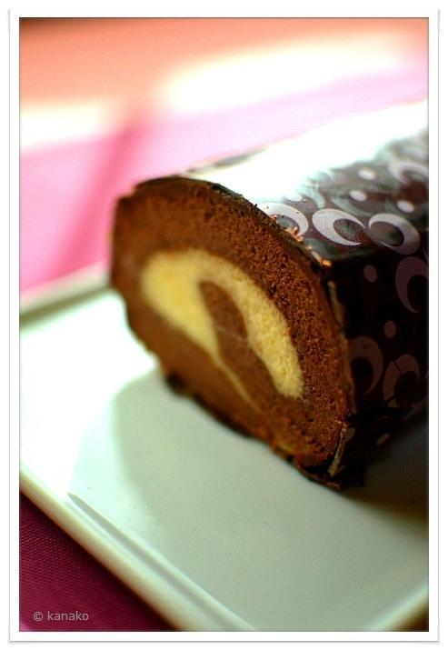 バレンタイン・チョコバナナロールケーキ