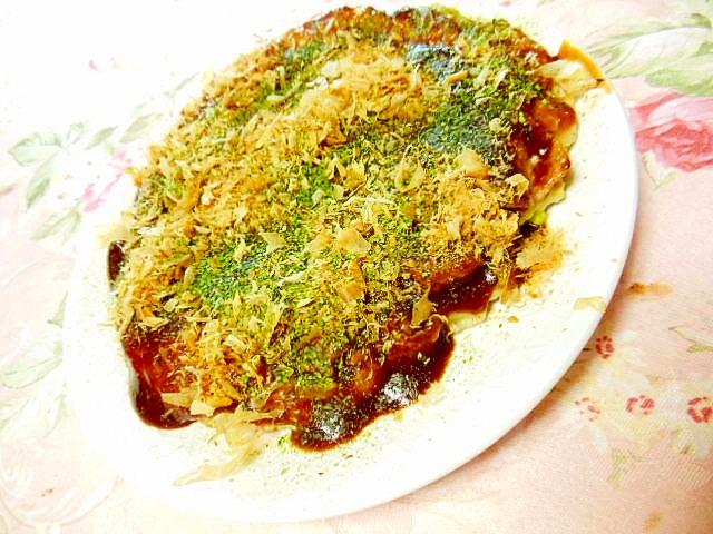 ピリッと豆腐とマヨ&牛肉のお好み焼き