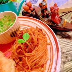 干し椎茸と塩豚の塩昆布煮汁ミート風パスタ