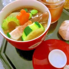 夏野菜と炙り穴子の冷やし茶わん蒸し