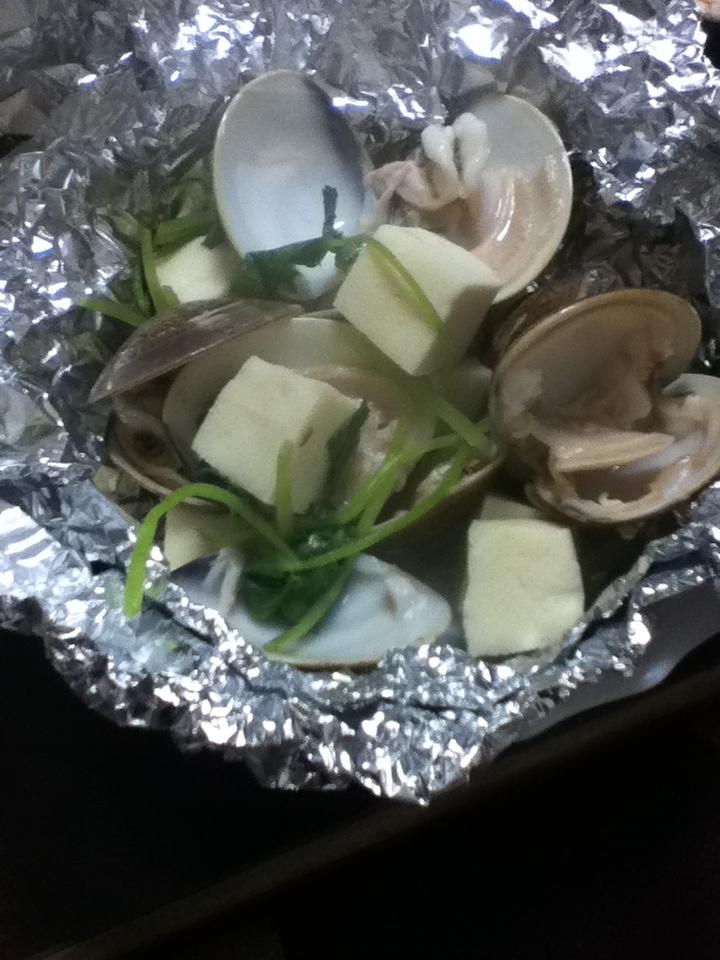 ハマグリと高野豆腐と三つ葉のホイル焼き