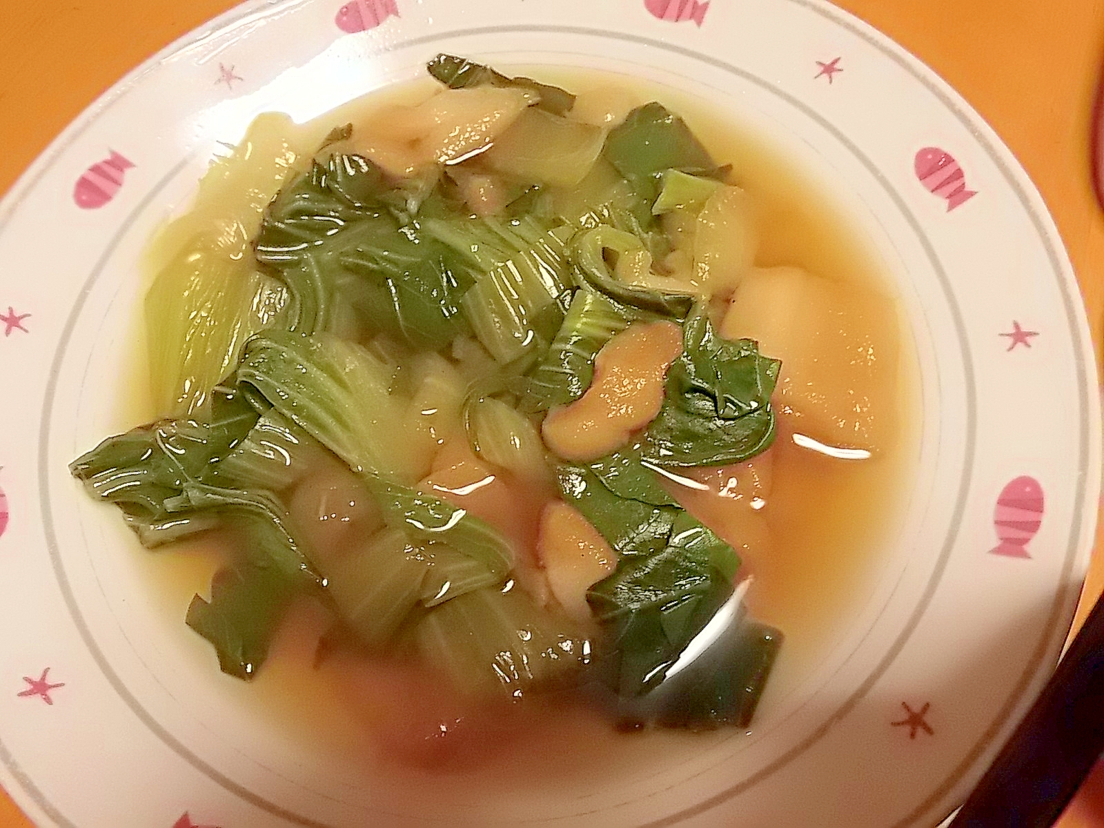 青梗菜と麩の煮浸し