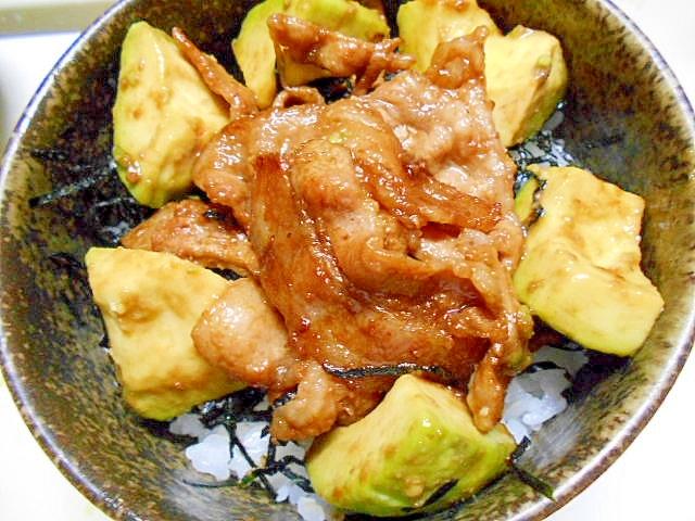 豚肉*アボカド丼
