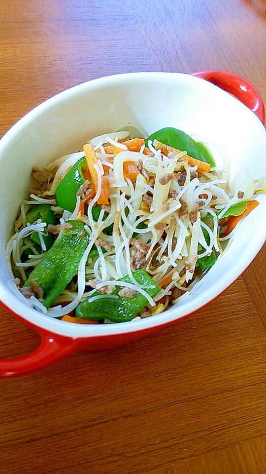 合挽き肉と彩り野菜のビーフン