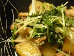 ブタ大根と水菜蒸し