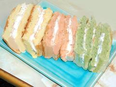 ホットケーキミックスで簡単!三色のワッフルケーキ♪