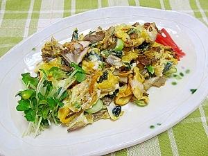 簡単♪舞茸と海苔の卵炒め