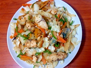 サバと野菜のバジル炒め