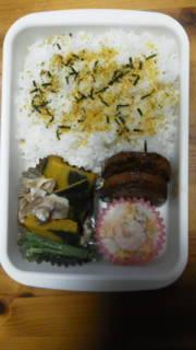 ☆パパお弁当☆ハンバーグ・グラタン・大豆甘煮・かぼ