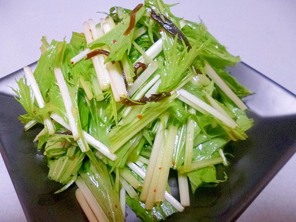 かんたん!混ぜるだけ!水菜と塩昆布のおつまみ
