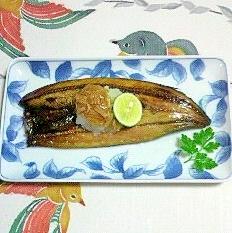 秋刀魚の干物に、大根&スダチ&なめ茸