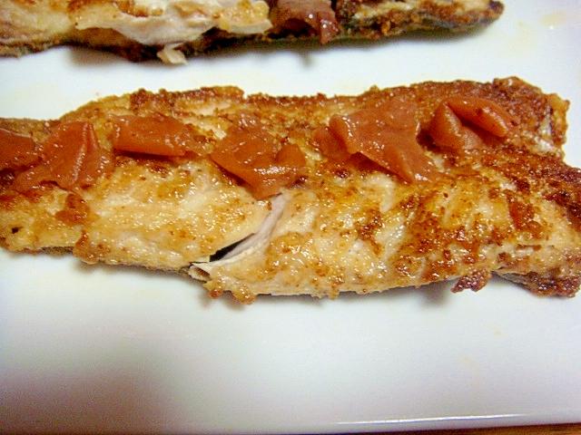 鯖の山椒ムニエル。梅肉乗せ
