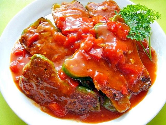ピーマンの肉詰めのトマト煮