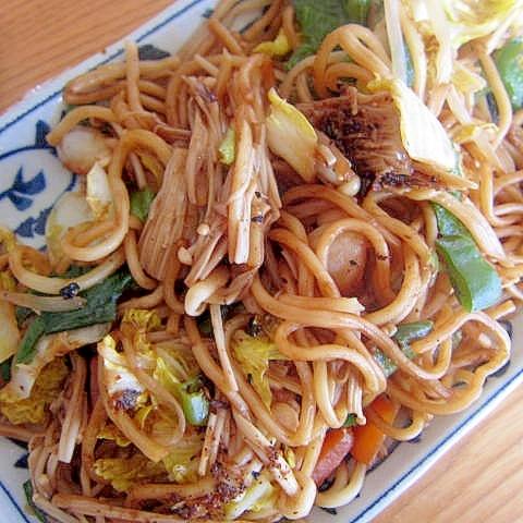えのき茸海老焼き蕎麦