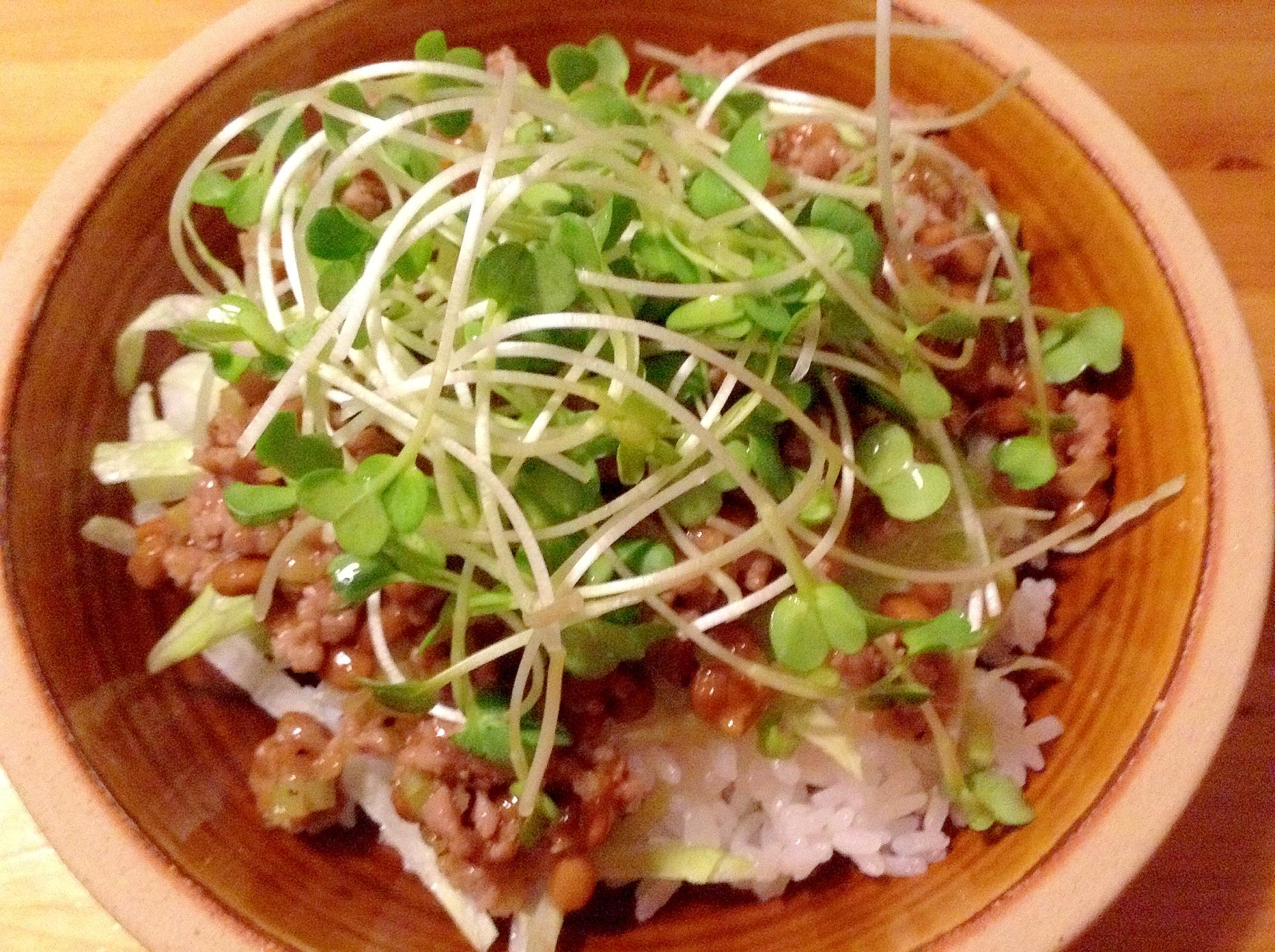 丼に盛られた納豆と豚ひき肉の納豆丼