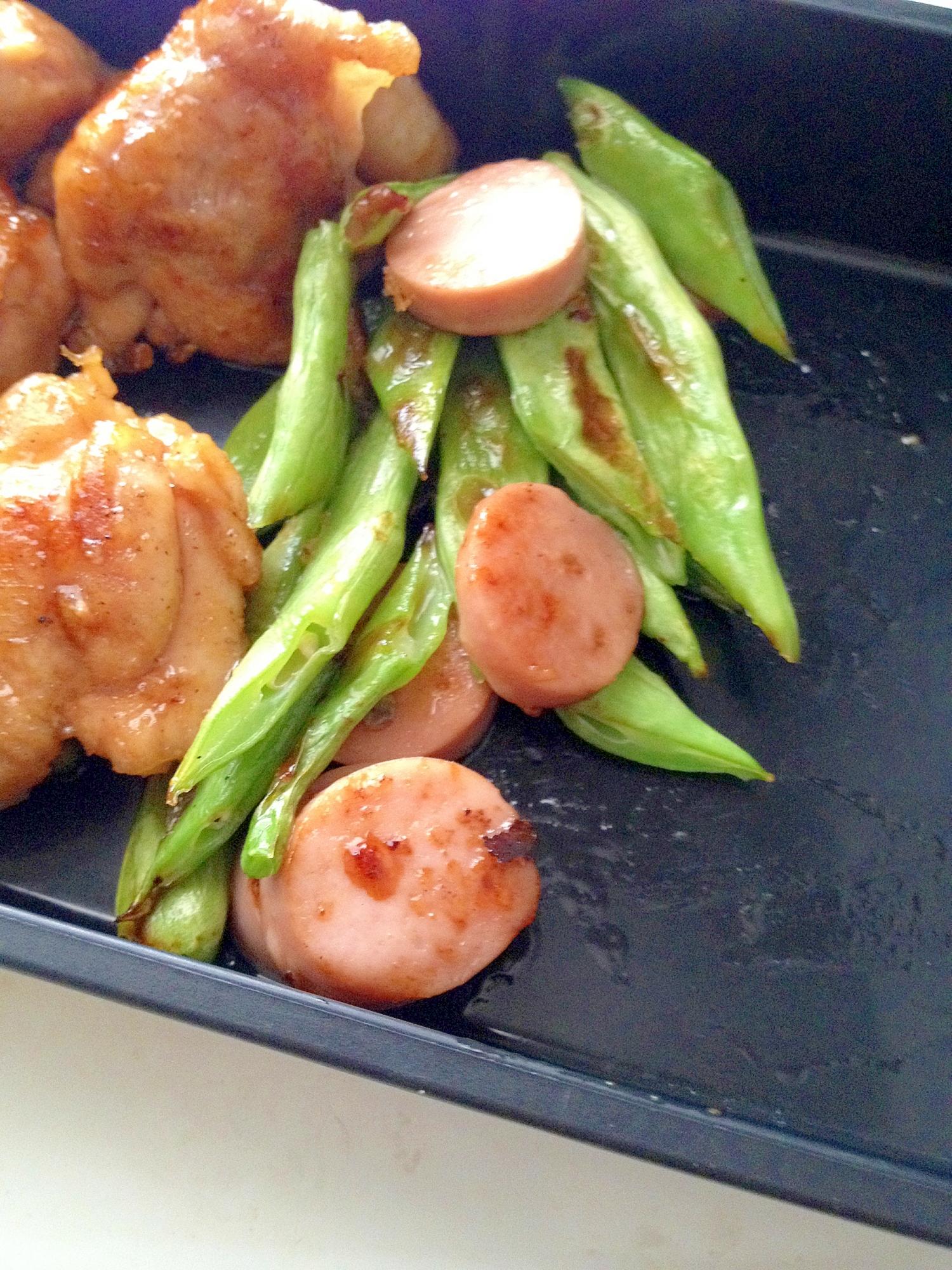 インゲンと魚肉ソーセージのコンソメ醤油炒め