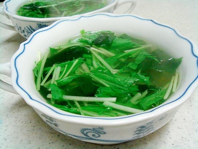 水菜とワカメのあっさりスープ