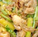 ホタテとグリーンアスパラとサヤインゲンの炒め物