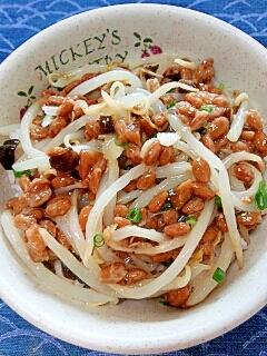 納豆の食べ方-キューちゃん&もやし♪