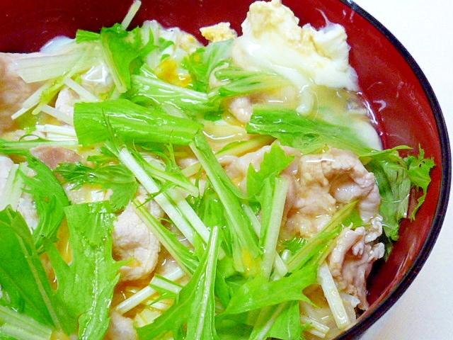 豚肉と水菜の卵丼