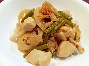 鶏肉とレンコンとニンニクの芽の炒め煮