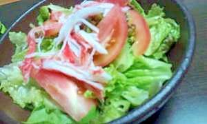 サニーレタスとサラダ菜とトマトとカニカマサラダ