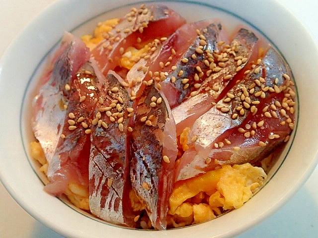 炒り卵と鯵刺のすし飯丼
