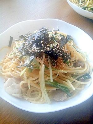 体ポカポカ♪豚肉と水菜のしょうがパスタ☆