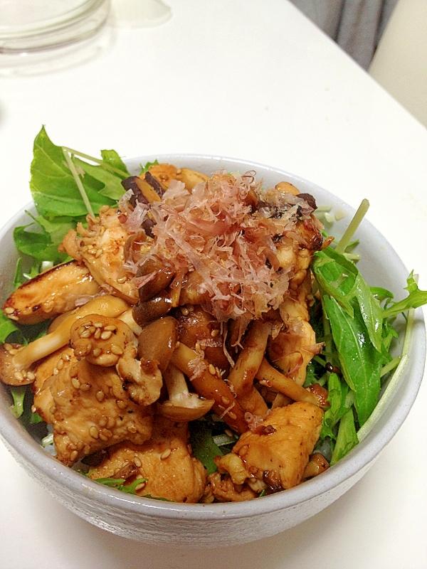 水菜ナムルと鶏の照り焼き丼