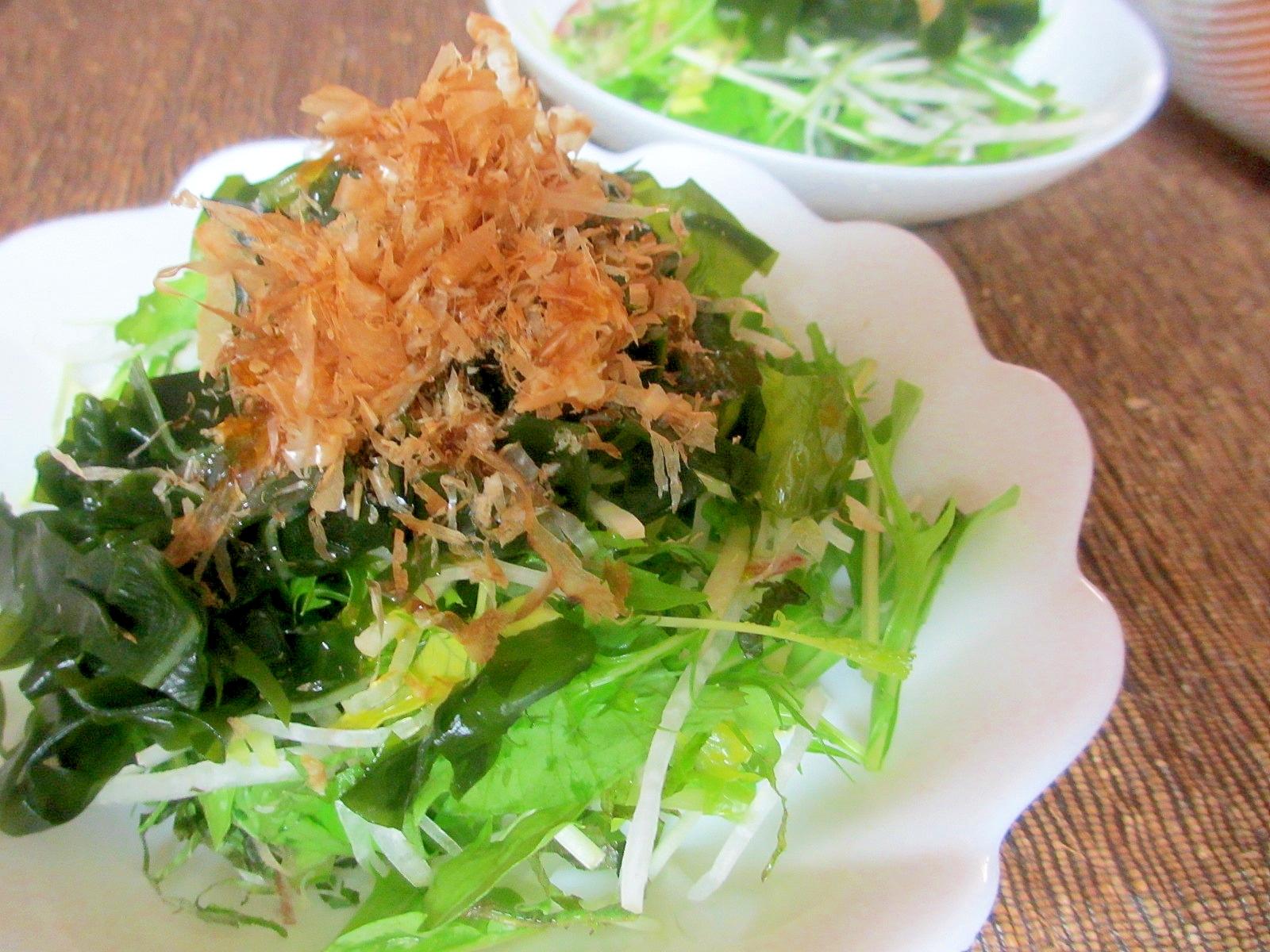 水菜とわかめの和風薬味サラダ