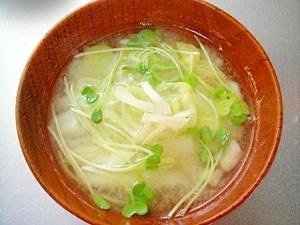 白菜とかいわれネギの味噌汁
