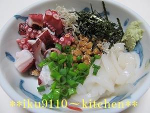 イカたこジャコの海鮮納豆