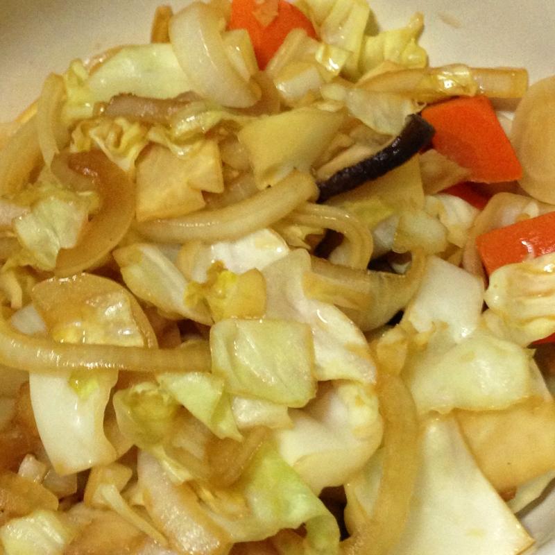 ラーメンスープのもとで、かんたん野菜炒め!