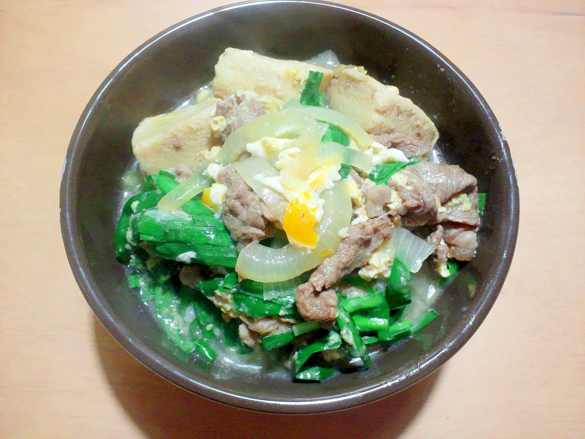 凍り豆腐入り!すき焼き肉を使って、贅沢な牛丼♪