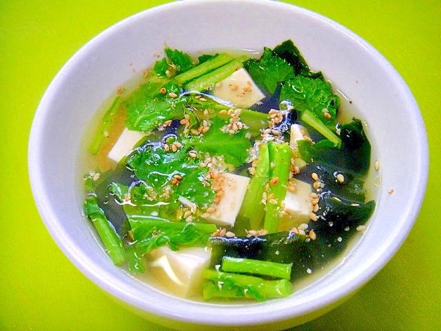 からし菜とワカメ豆腐の中華スープ