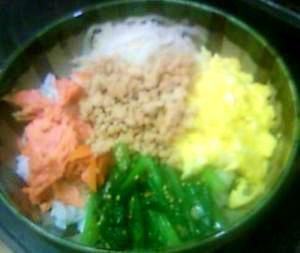 常備菜とお弁当の残りでつくる一人分のお昼のどんぶり