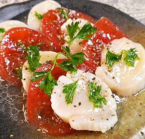 半生ホタテトマトのサラダ
