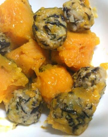 圧力鍋で☆かぼちゃとひじきつくねの煮物