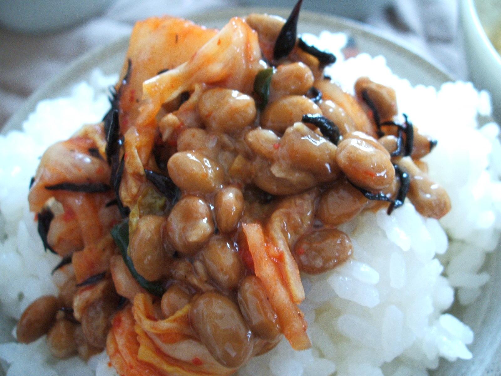 キムチとひじきの納豆