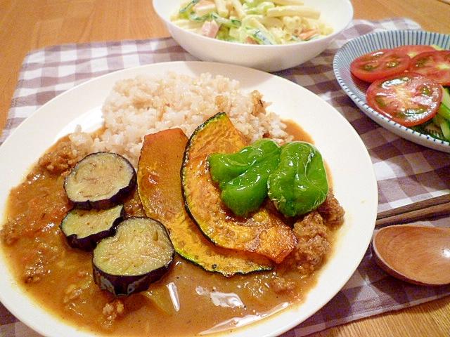 夏野菜deキーマカレー。