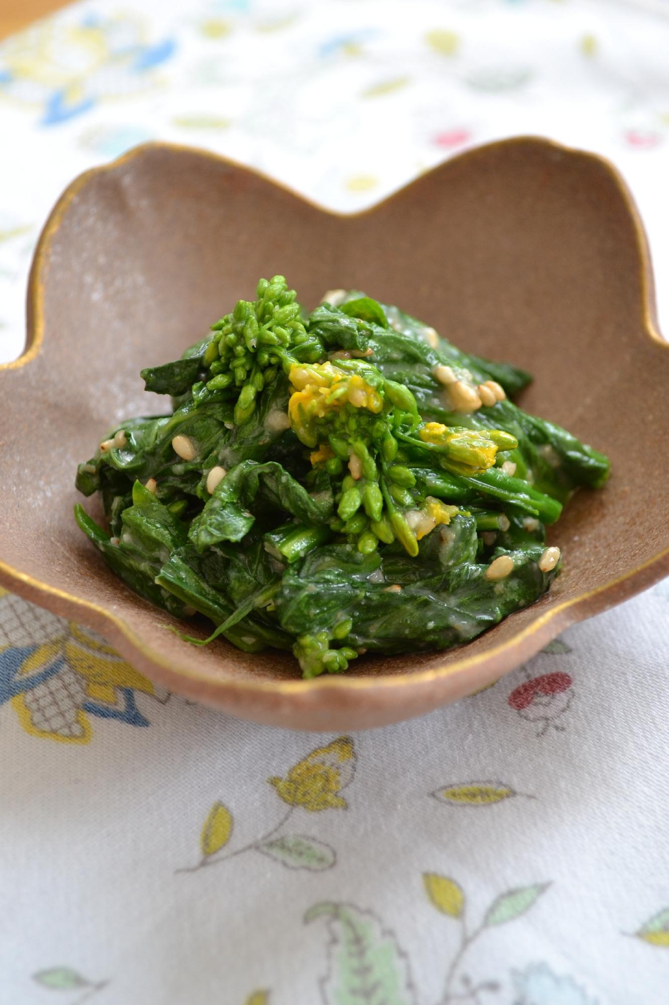 6. 菜の花の酢味噌ごま和え