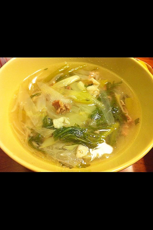 ネギと羊肉のぽかぽかスープ