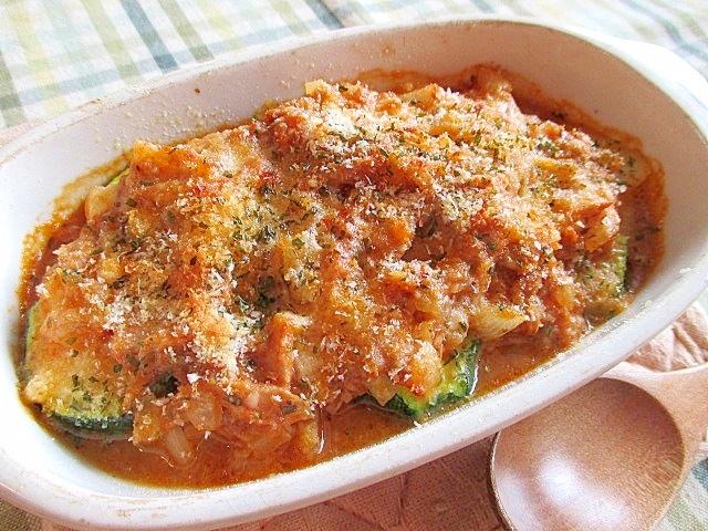 ズッキーニのトマトソースグラタン♪
