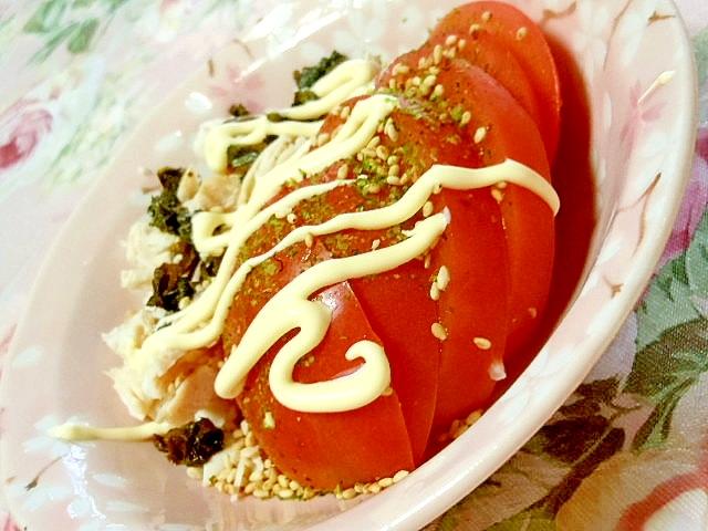 ささみとトマトの大葉・青海苔マヨサラダ