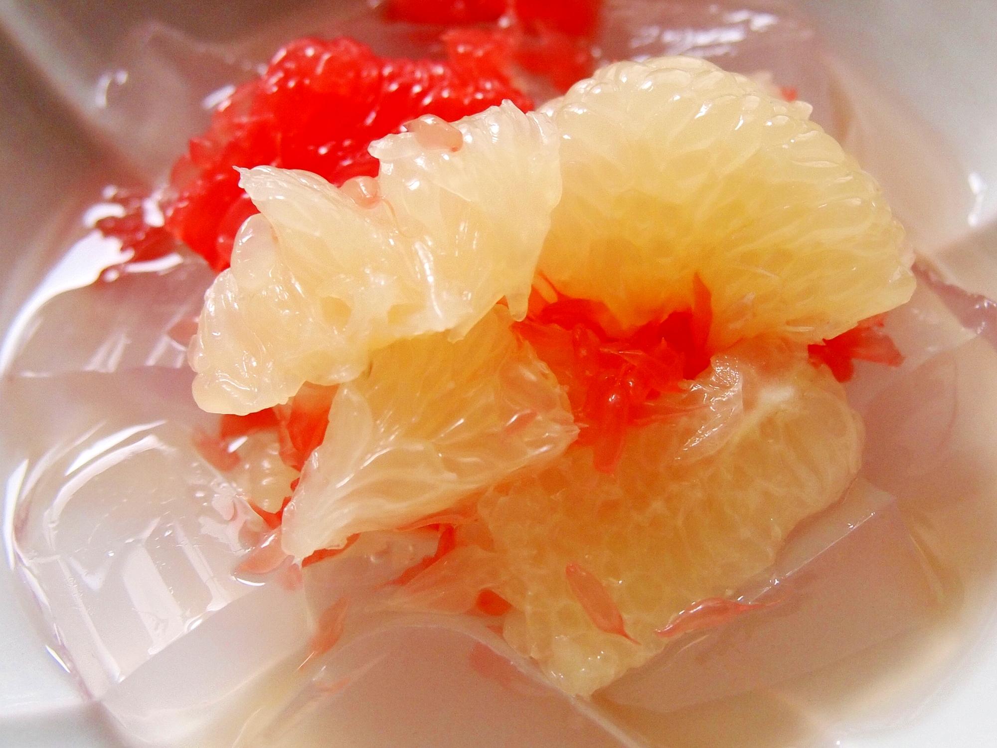 グレープフルーツ添え寒天白蜜
