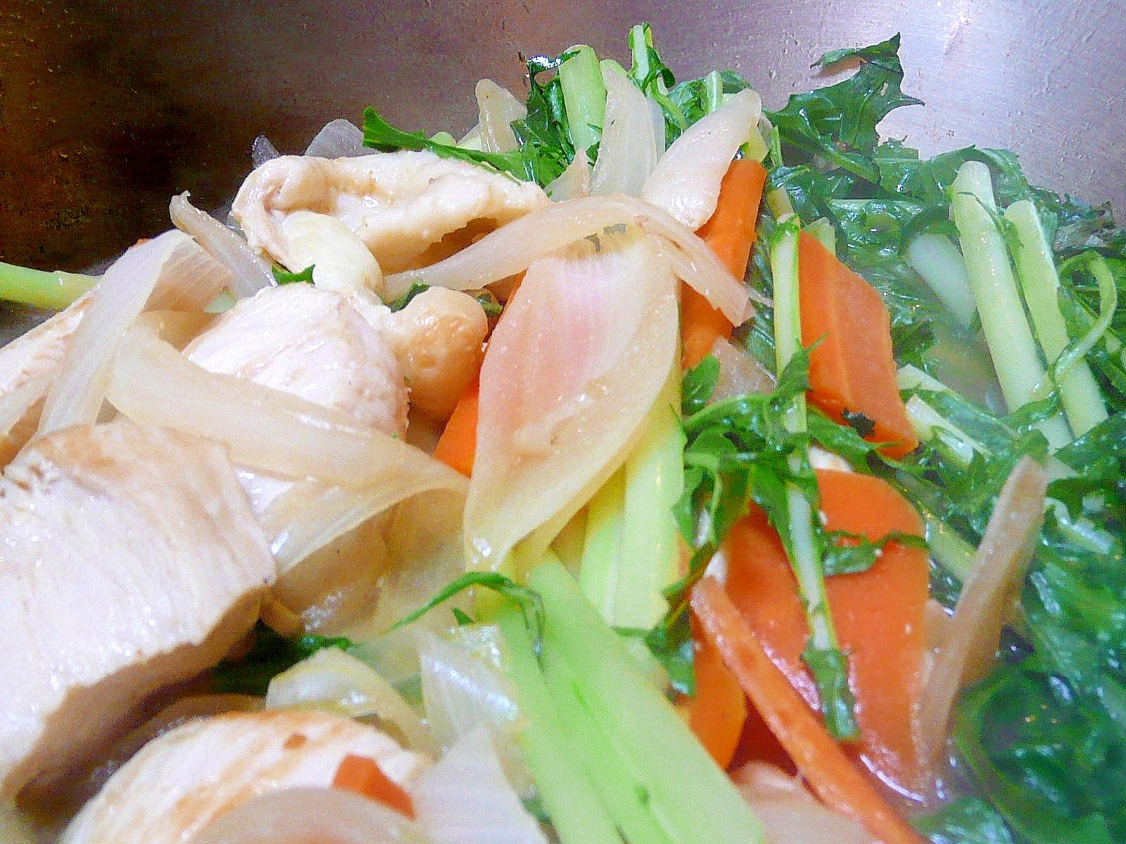 鶏肉と水菜のすきやき風