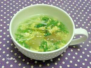 簡単美味しい♪水菜とザーサイの玉子スープ
